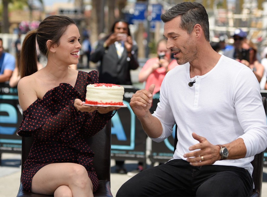 Rachel Bilson & Eddie Cibrian -  Happy birthday! The actress surprises her  Take Two  costar with a birthday cake at 'Extra' in Universal Studios Hollywood.