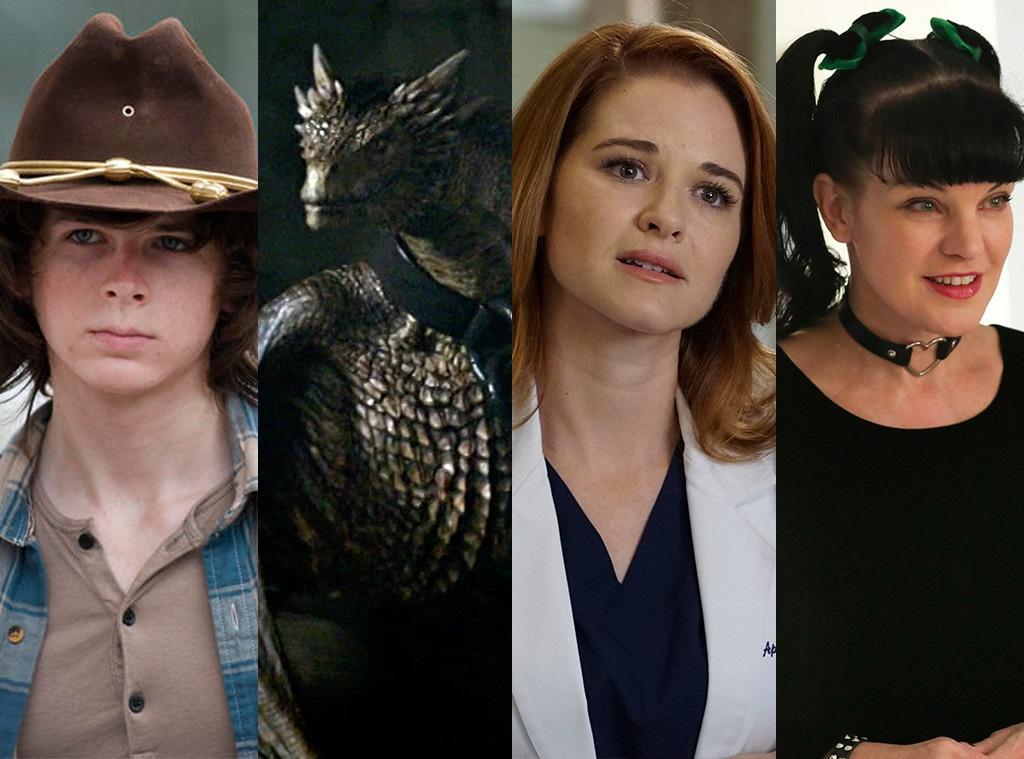 Chandler Riggs, Viserion the Dragon, Pauley Perette, Sarah Drew, Saddest Death Split, Actor Exit Split