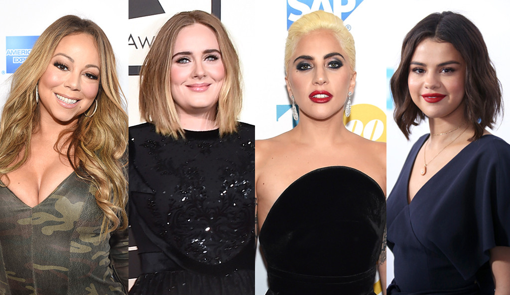Pop Divas Poll, Mariah Carey, Adele, Lady Gaga, Selena Gomez
