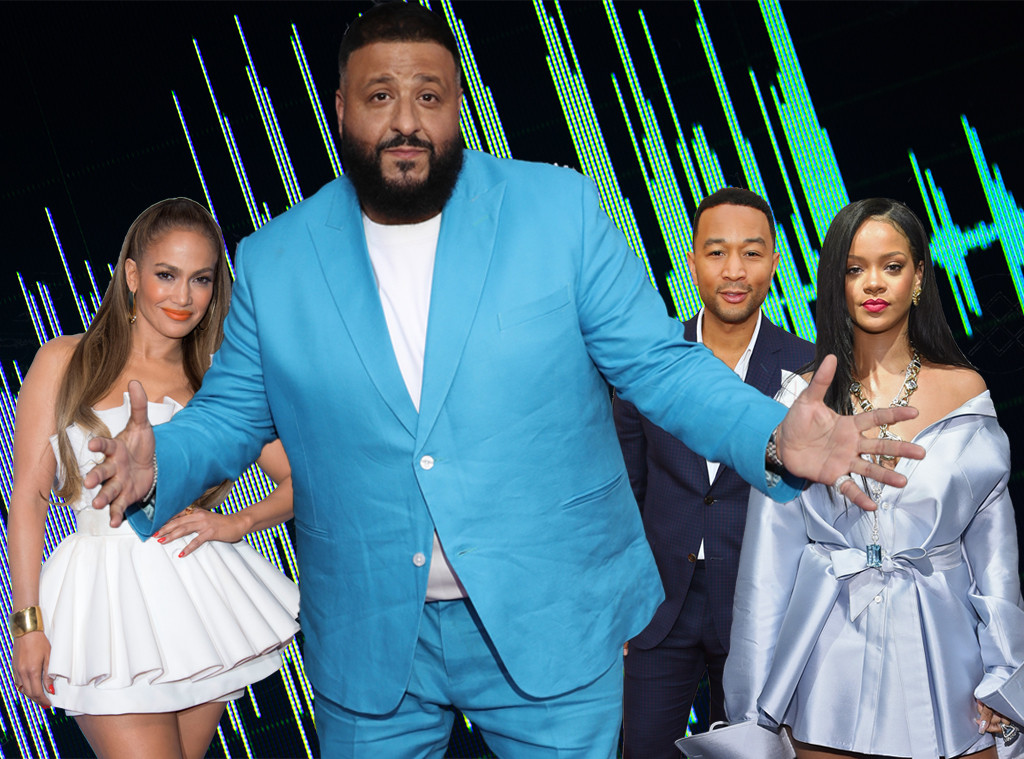 DJ Khaled, Jennifer Lopez, John Legend, Rihanna, Music Collabs, Graphic