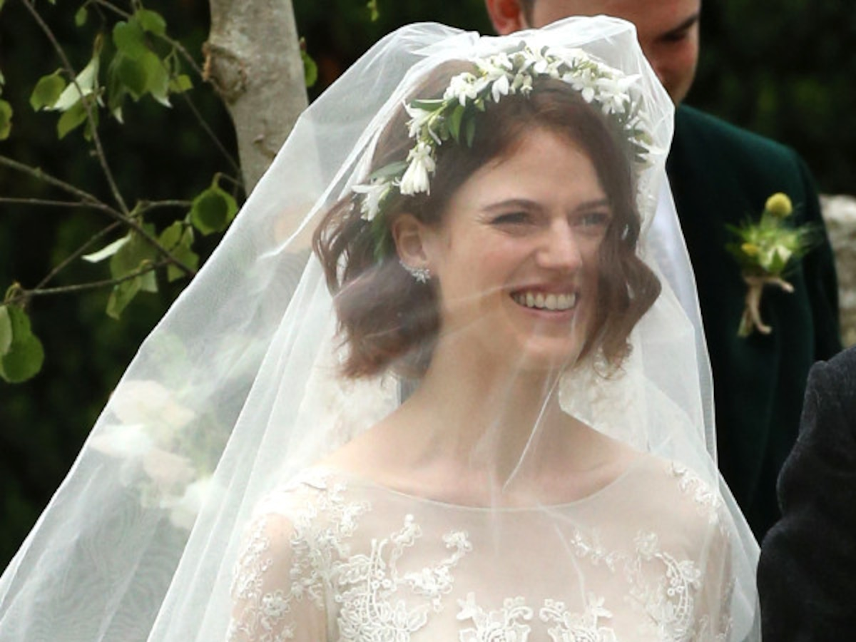 Rose Leslie Wears Stunning Lace Dress to Her and Kit Harington's Wedding