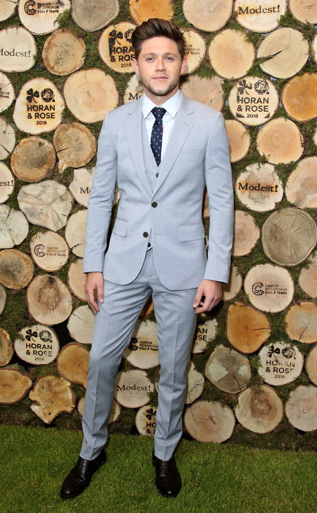 Follow Suit - Niall Horan  looks dapper in a light grey three-piece suit at the Horan and Rose Charity Event in Watford, England.