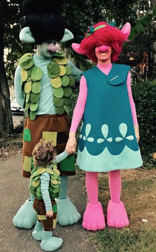 """Halloween Envy -  """"Happy Halloween from Poppy, Branch and lil Branch. We be Trollin'...""""  Jessica Biel  wrote  on Instagram after Halloween 2016."""