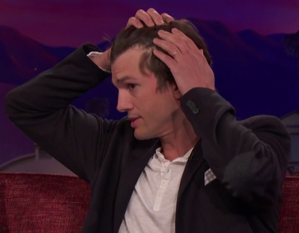 Ashton Kutcher Reveals His Receding Hairline On Conan E