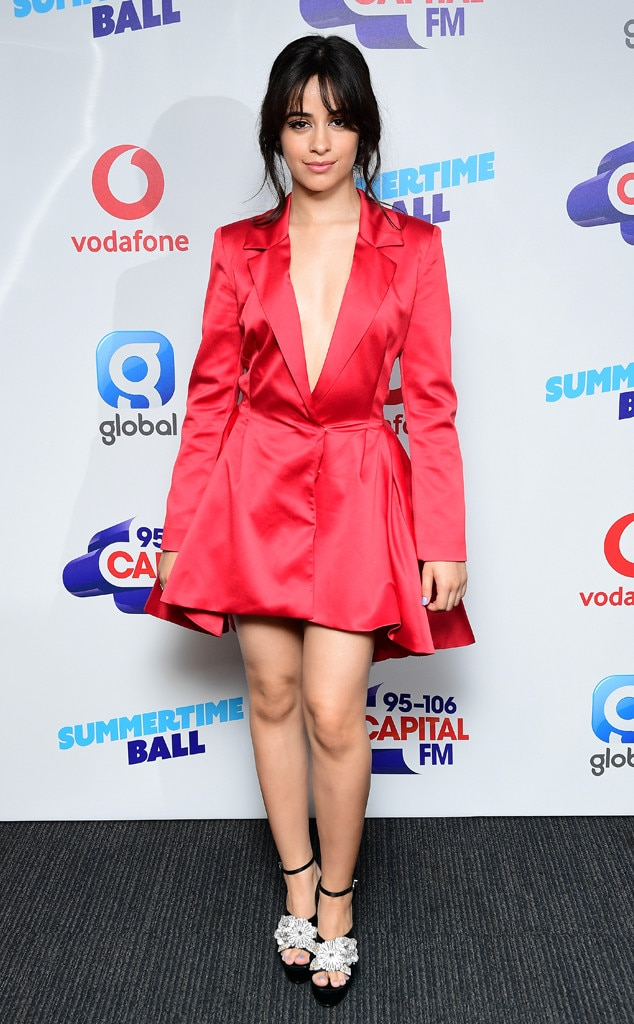 Miss Scarlet - Camila Cabello  looks red hot in this cinched blazer dressas she arrives at Capital's Summertime Ball in London, UK.