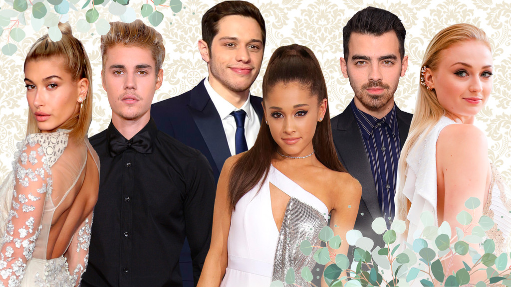 Hollywood's Rush to the Altar, Hailey Baldwin, Justin Bieber, Pete Davidson, Ariana Grande, Sophie Turner, Joe Jonas