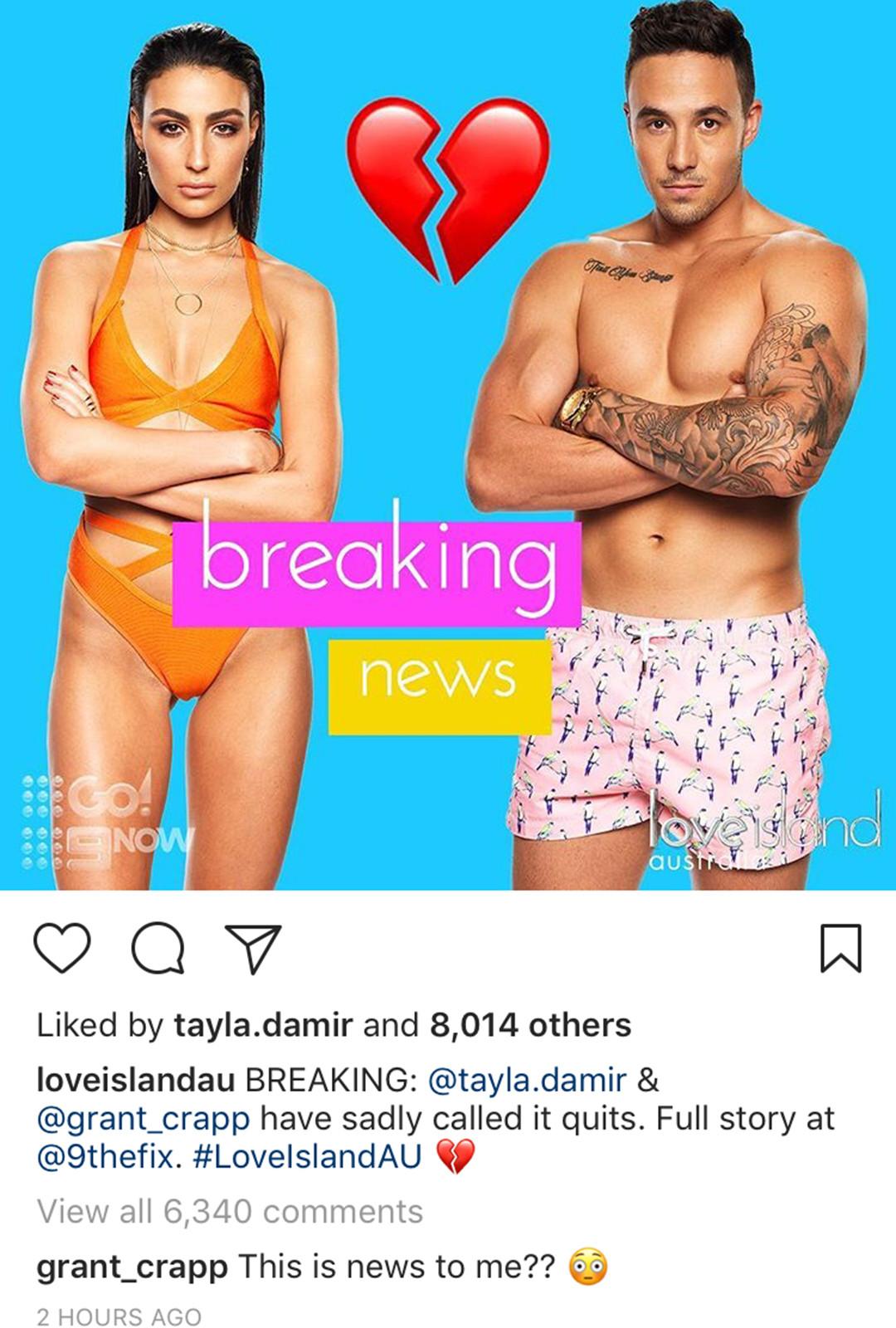 Tayla Damir, Grant Crapp, Love Island