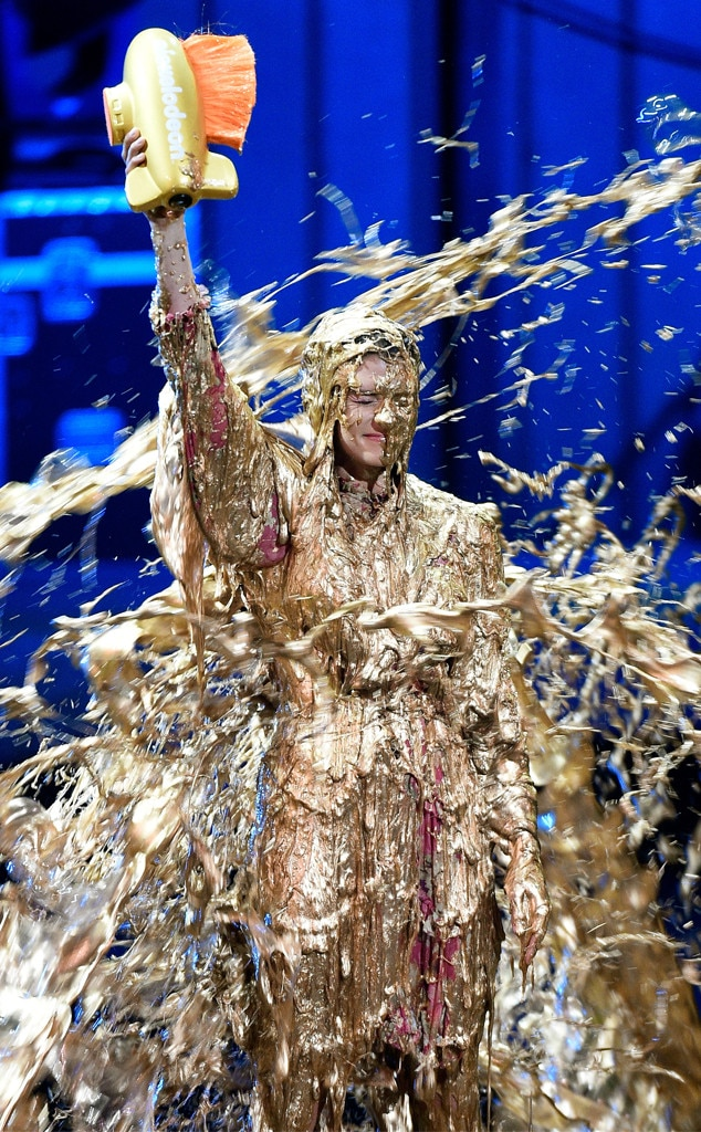 Danica Patrick -  Slime time! The racing driver gets royally slimed while accepting the Legend Award during the Nickelodeon Kids' Choice Sports 2018 in Santa Monica, Calif.