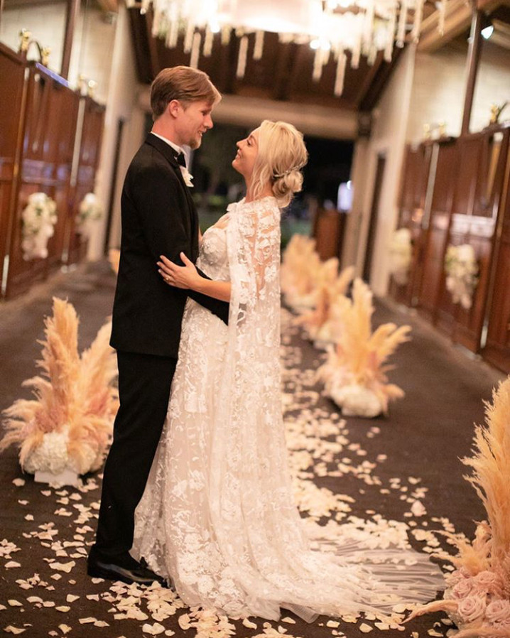 c2c16509d96 Kaley Cuoco s Wedding Dress Took 400 Hours to Make  All the Details on Her  Custom Bridal Look!