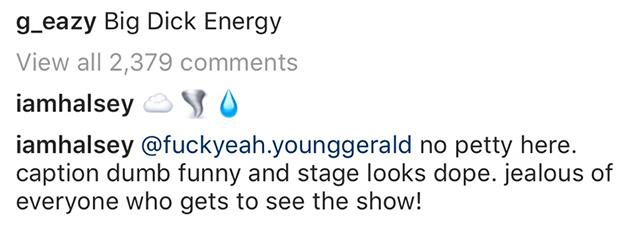 Halsey, G-Eazy, Instagram