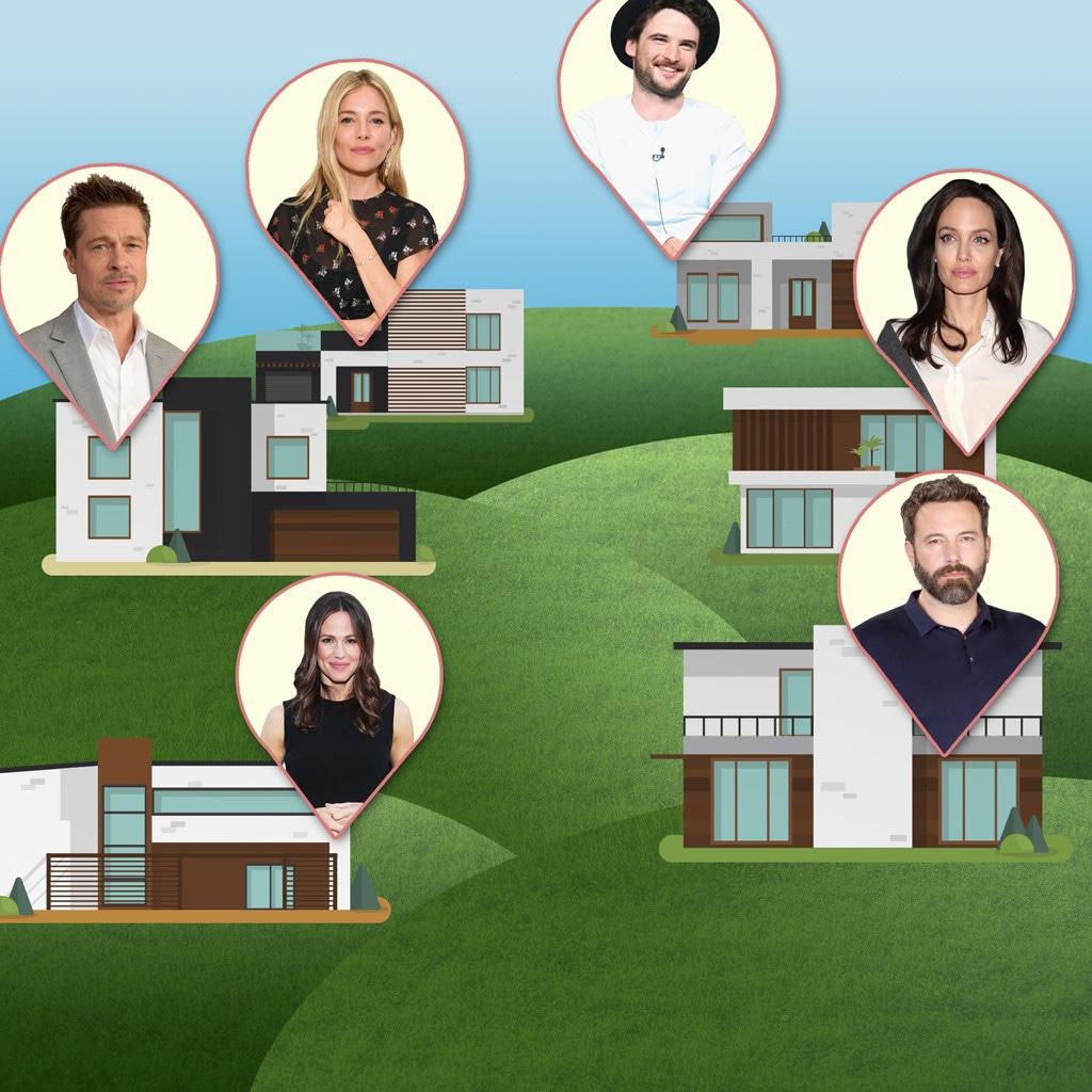 Celebrity Neighbors, Jen Garner, Ben Affleck, Brad Pitt, Angelina Jolie, Sienna Miller, Tom Sturridge