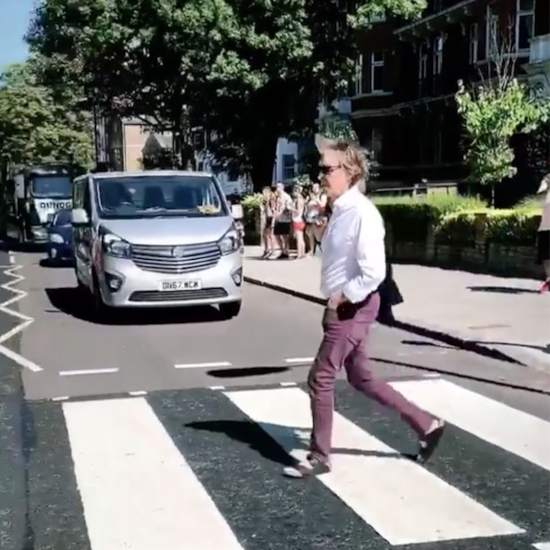 Paul Mccartney Reenacts Famous Abbey Road Crossing E Online