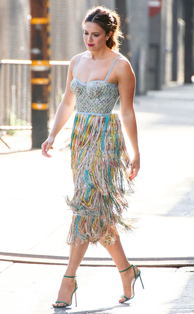 Fabulous Fringe -  Mandy stopped by  Jimmy Kimmel Live  wearing a multicolored, spaghetti-strap Missoni dress paired with green heels.