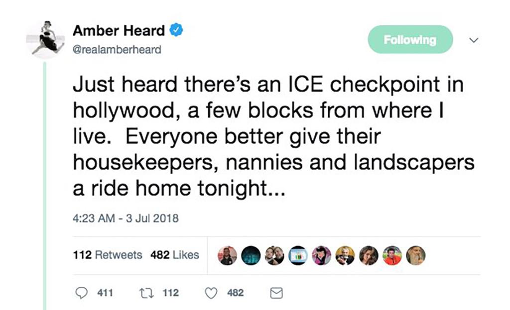 Amber Heard, Twitter