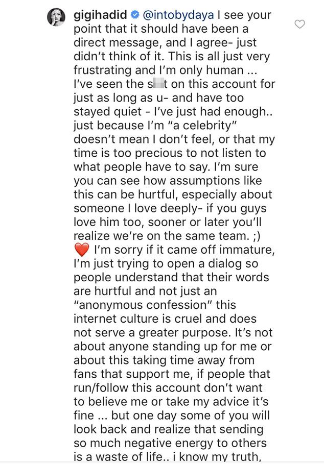 Gigi Hadid, Instagram Drama