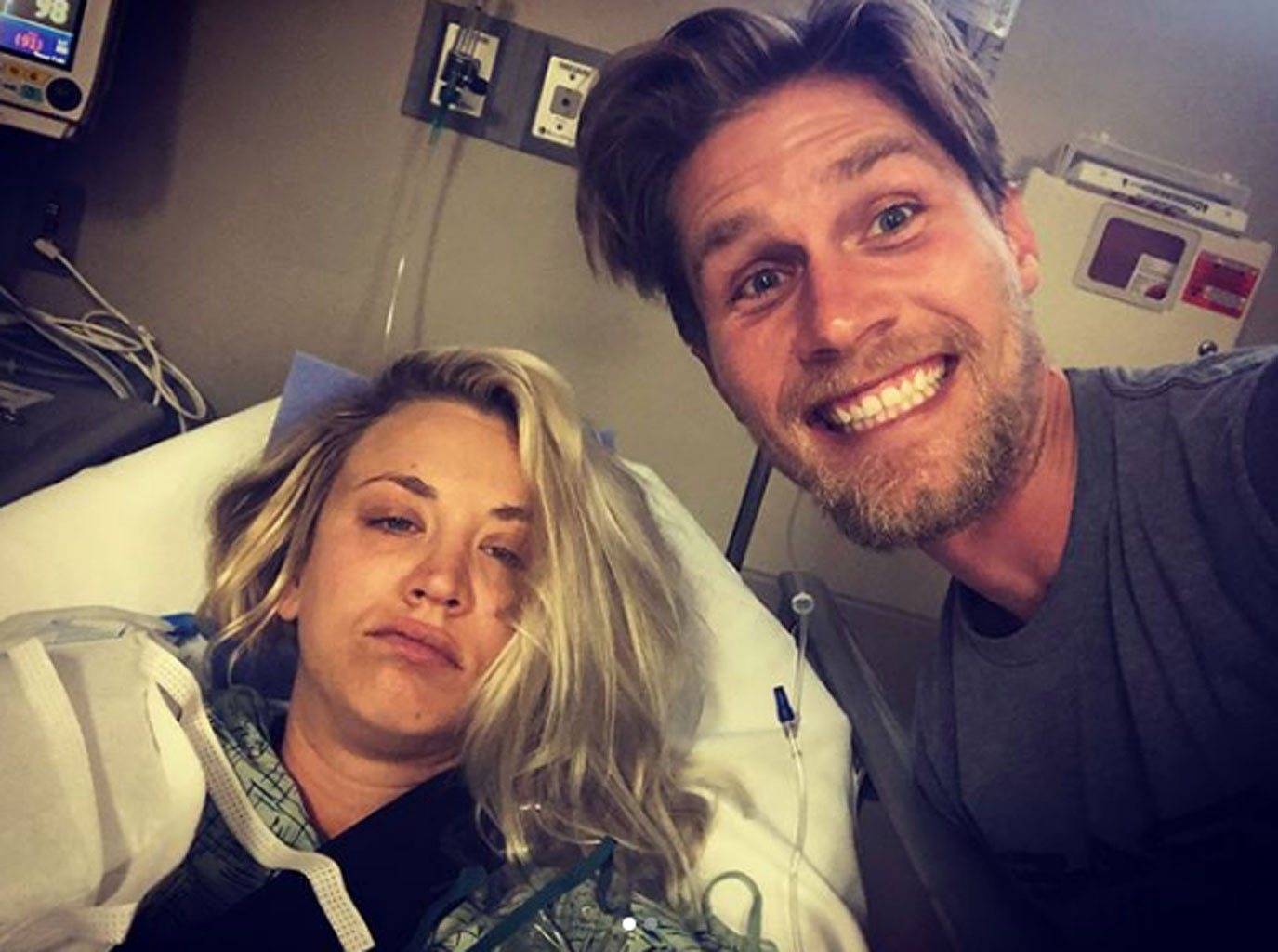 Kaley Cuoco's Husband Karl Cook Does Her Hair After Shoulder Surgery