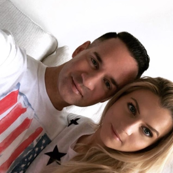 """Mike """"The Situation"""" Sorrentino & Lauren Pesce -  The Jersey Shore star cuddles up next to his fiancé on his 36th  birthday ."""