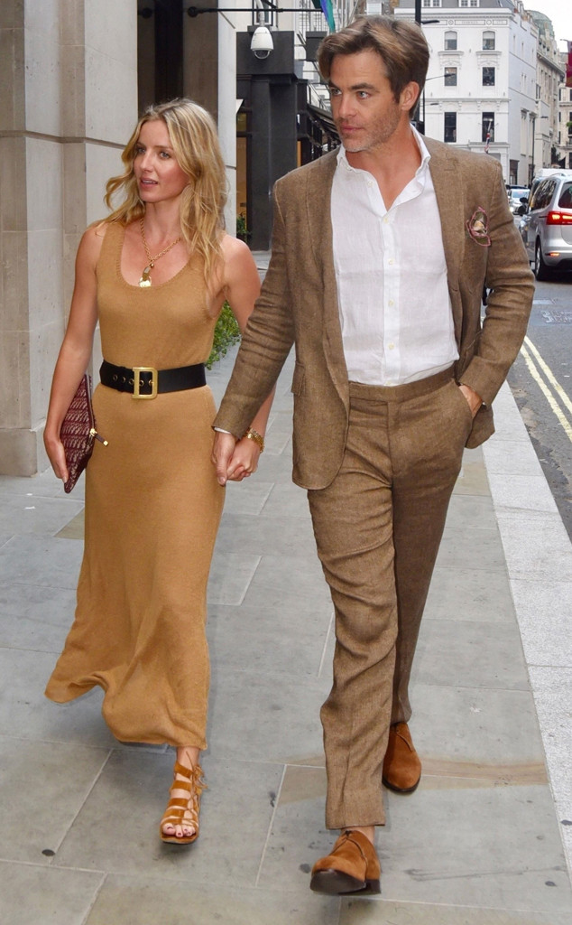 chris pine and annabelle wallis wear matching outfits in london e