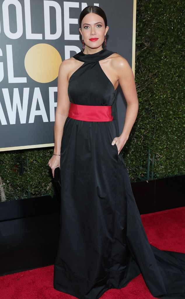 Radiant Elegance -  Mandy sets the bar high at the Golden Globes in a stunning Rosie Assoulin gown.