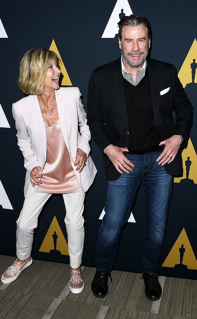 John Travolta and Olivia Newton Reunite for Grease 40th Anniversary ...