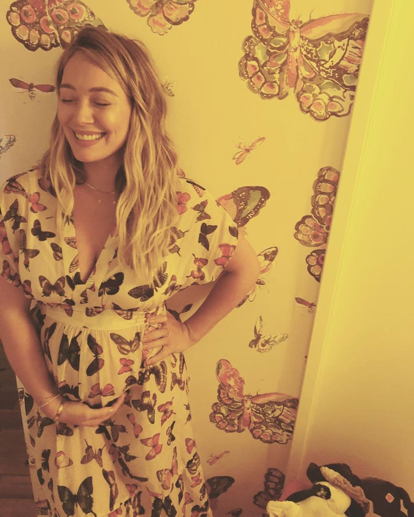 Say Cheese -  Hilary showed off her pregnant belly in a chic, boho dress.