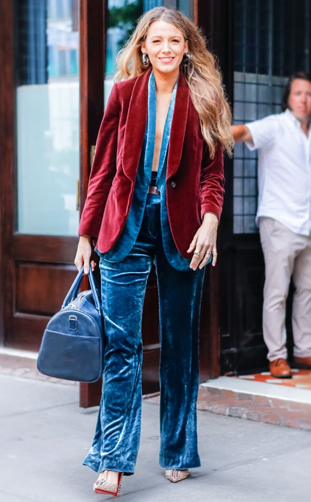 Blake Lively -  The  A Simple Life  actress is fall/winter goals with a velvet suit, complete by a vest, loose-hanging pants and a oxblood red jacket.