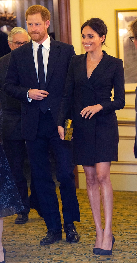 ...But Not Too Short -  Female royals must also ensure that their skirts are not too short.  Many felt  Meghan may have crossed the line a tad with the tuxedo mini dress  she wore while attending a gala performance of  Hamilton  with Harry in August.