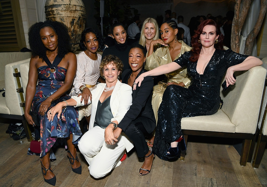 Group Pic! - Sydelle Noel ,  Tichina Arnold ,  Gabrielle Carteris ,  Dascha Polanco ,  Samira Wiley ,  Tracee Ellis Ross  and  Megan Mullally  pose together at  THR  and SAG-AFTRA's bash.