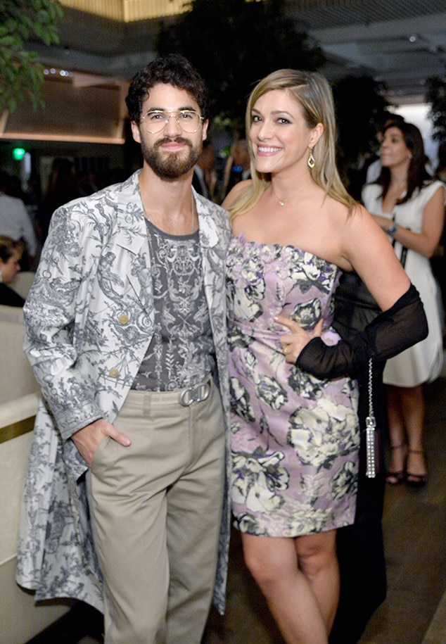 Darren Criss and Mia Swier -  The  Glee  alum and star of  The Assassination of Gianni Versace: American Crime Story  showcases a daring look as he poses with his fiancée at  THR  and SAG-AFRA's pre-Emmys bash.