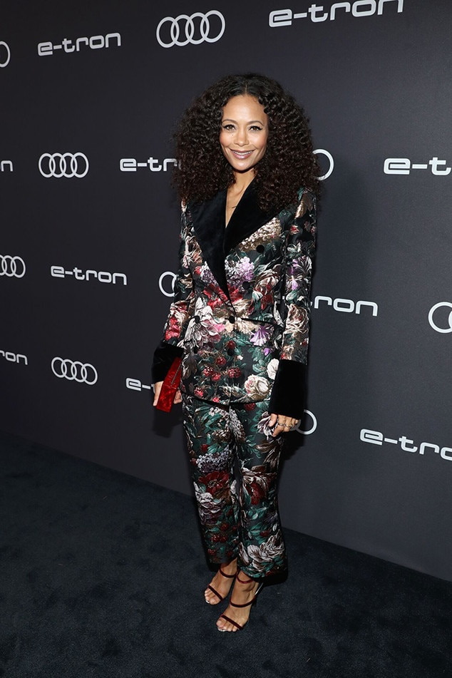Thandie Newton -  The  Westworld  star showcases a floral look at Audi's pre-Emmys party.