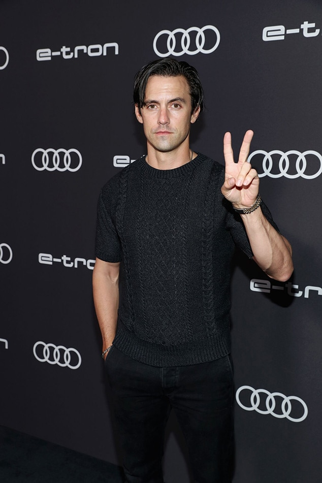 Milo Ventimiglia -  The  This Is Us  star flashes a peace sign.