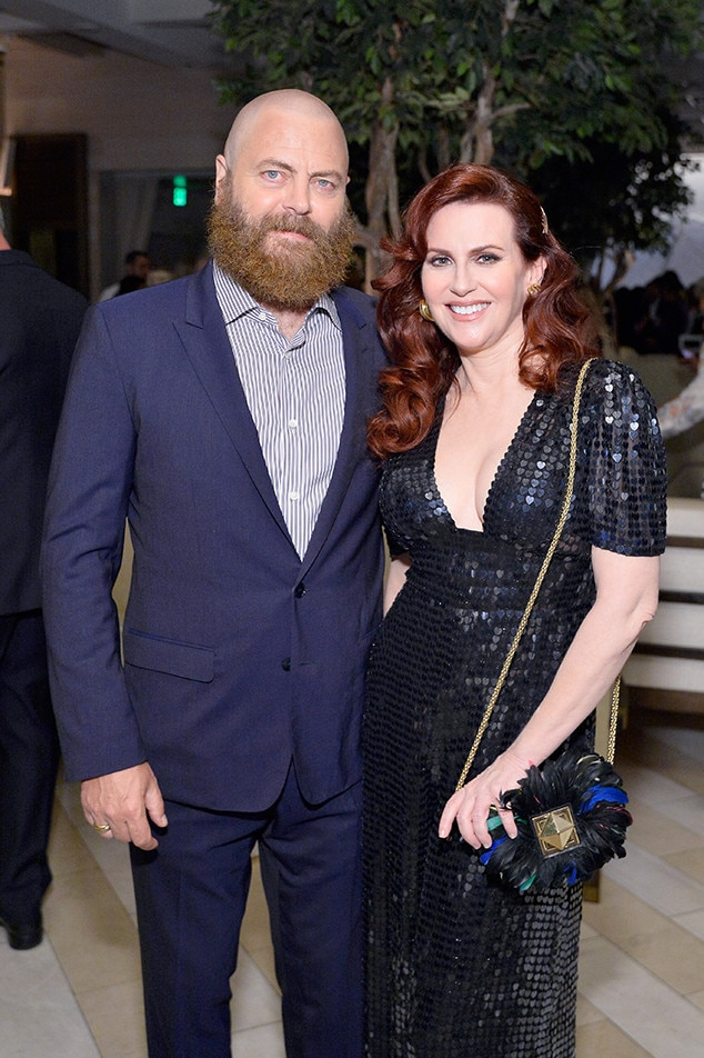 Nick Offerman and Megan Mullally -  The two bring the cuteness to the  THR  and SAG-AFRA's pre-Emmys bash.