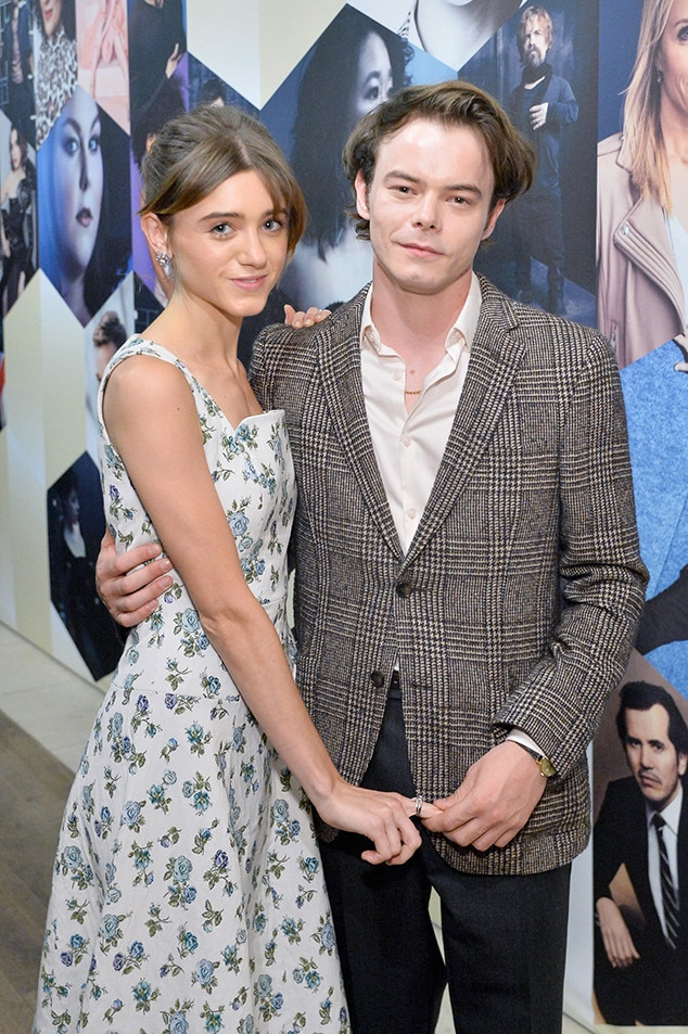 Natalia Dyer and Charlie Heaton -  The real-life  Stranger Things  couple get cozy at  THR  and SAG-AFRA's pre-Emmys bash.