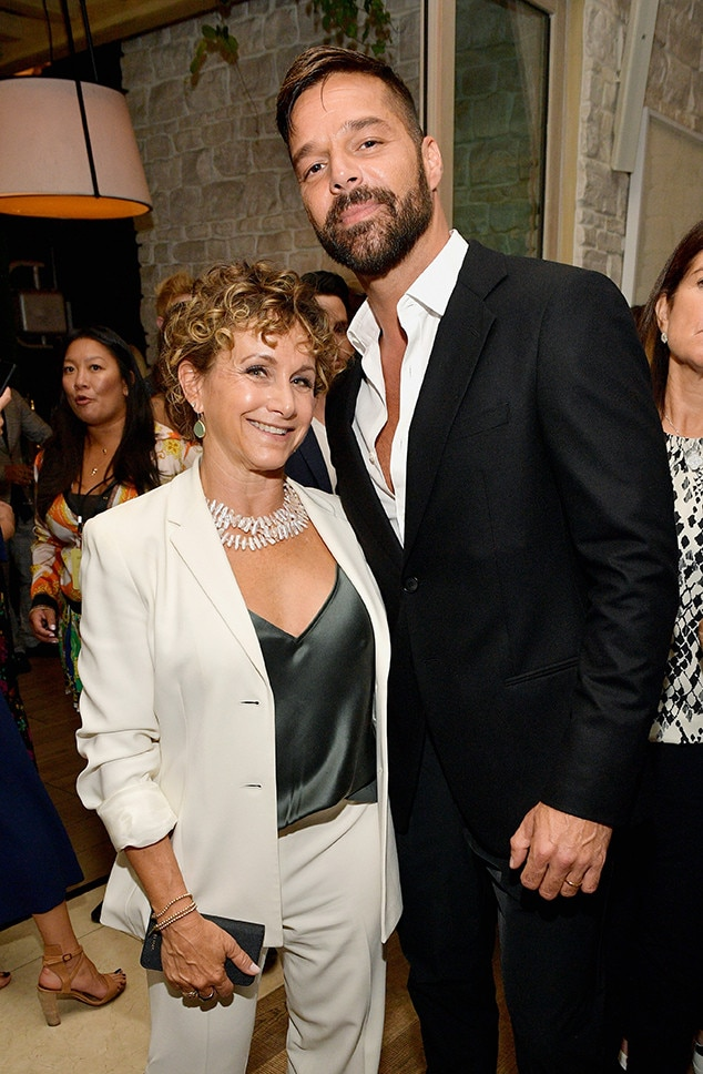 Gabrielle Carteris and Ricky Martin -  The SAG-AFTRA president and  Beverly Hills, 90210 's Andrea Zuckerman poses with the Latin pop star at her union and  THR 's joint pre-Emmys celebration.