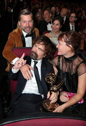 Nikolaj Coster-Waldu, Peter Dinklage, Erica Schmidt, 2018 Emmys, 2018 Emmy Awards, Candids
