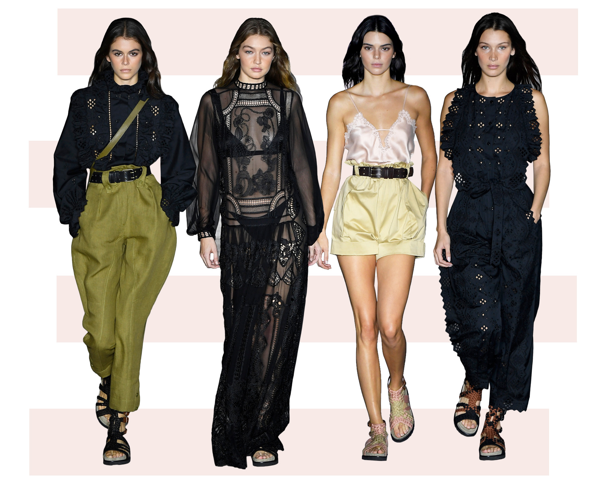 Kendall Jenner, Kaia Gerber, Gigi and Bella Hadid Strut on ...