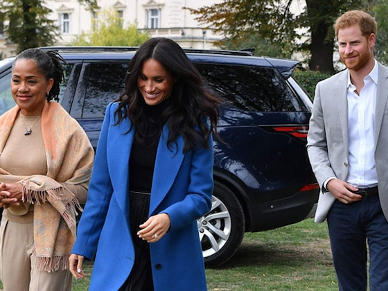 Meghan Markle Hosts First Palace Event With Her Mom and Prince Harry by Her Side