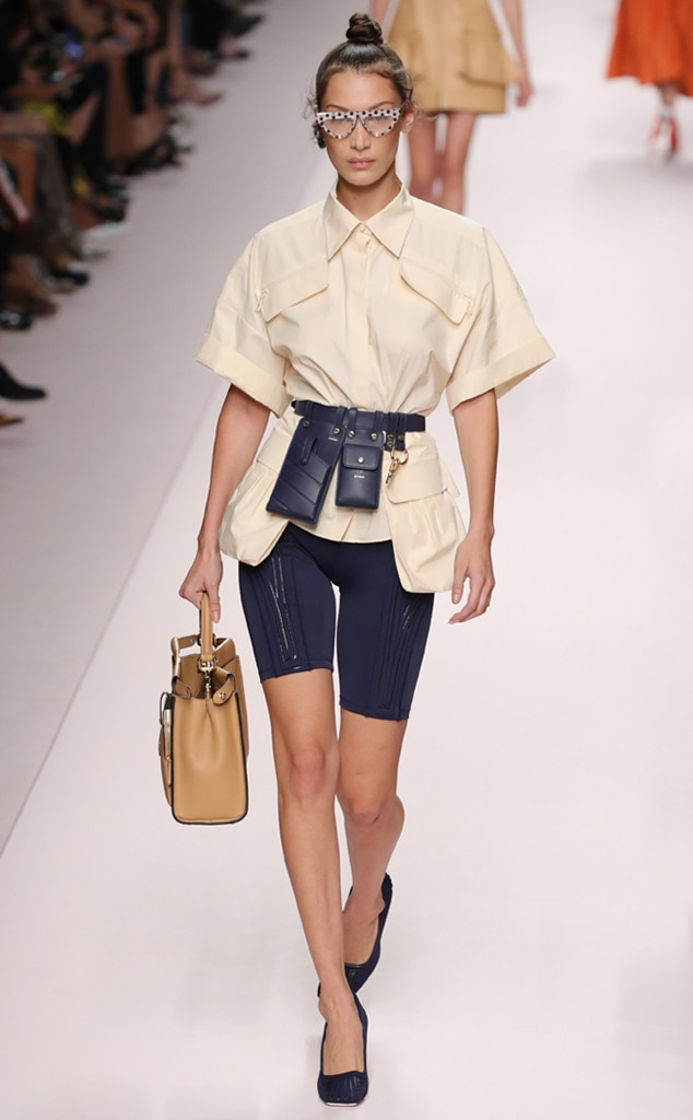 Fierce in Fendi -  The model makes her way down the runway during Milan Fashion Week wearing a nude Fendi blouse.