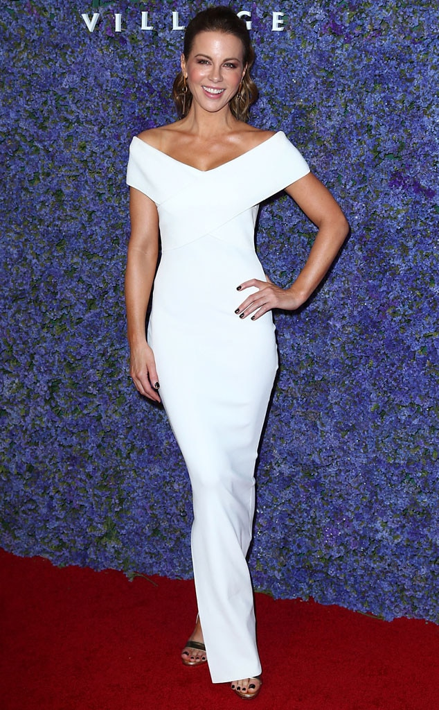 Sleek Chic - Kate Beckinsale looks fabulous in her sleek white dress atCaruso's Palisades Village Opening Gala in Pacific Palisades, Calif.