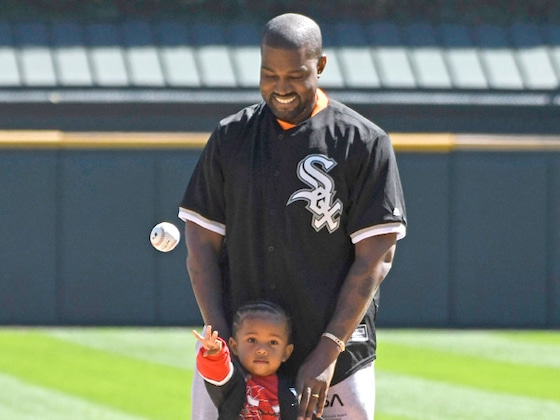 Kanye West and Saint West Throw First Pitches at Cubs-White Sox Game