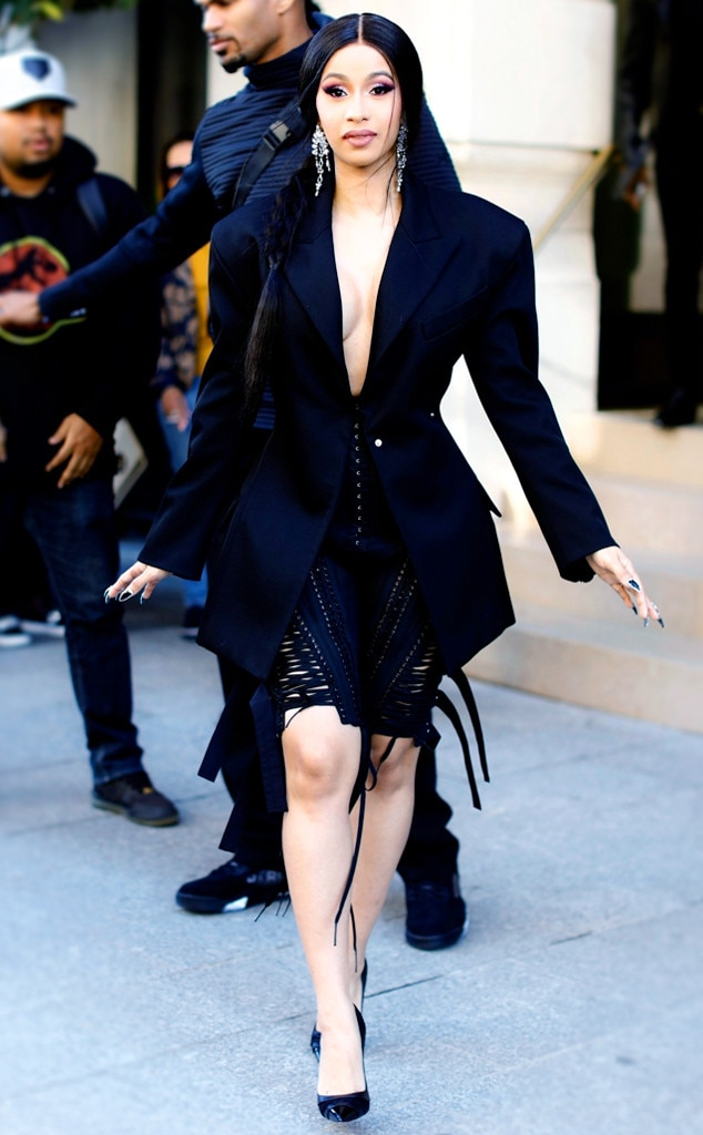 Cardi B -  The rapper opted out of a shirt during her last trip to Paris. Instead, she bared all with a tuxedo jacket and a corset-inspired skirt.