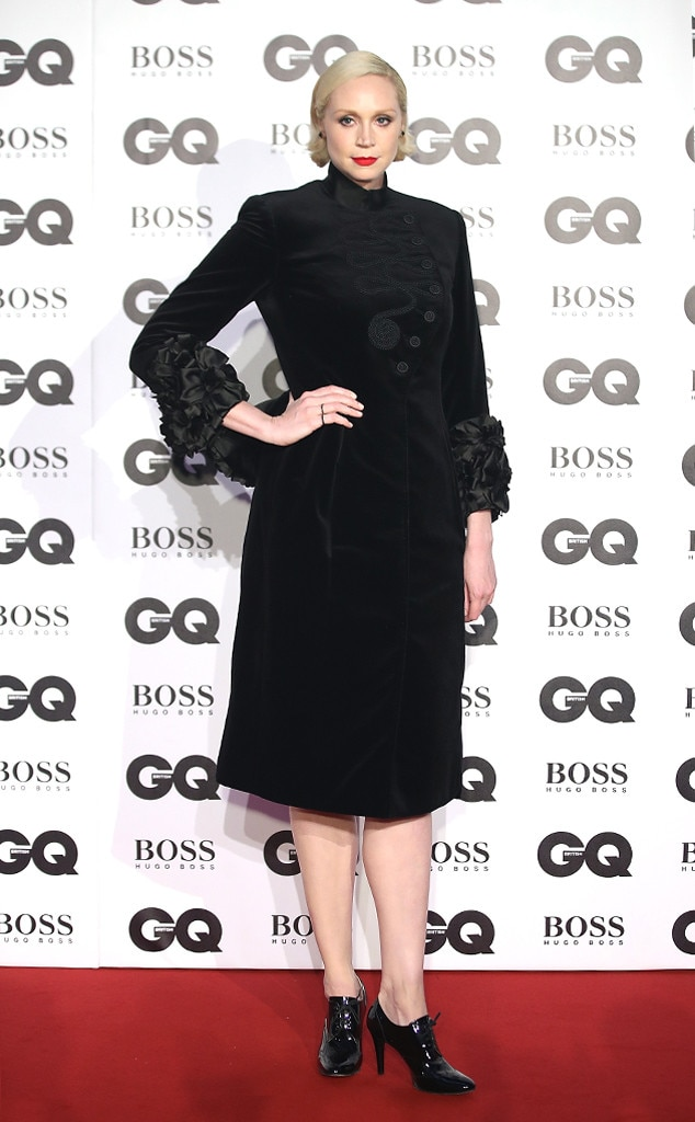 Gwendoline Christie -  The  Star Wars  actress looked chic in her black dress and bold red lip.