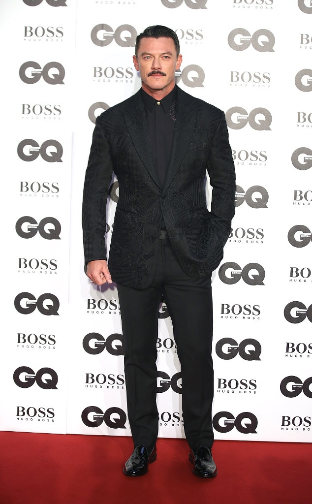 Luke Evans -  The  Beauty and the Beast  star donned an all-black suit.