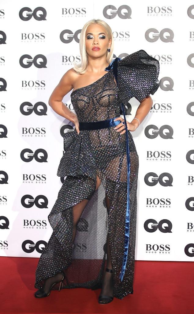 Rita Ora -  The singer stunned in a black, semi-sheer gown.