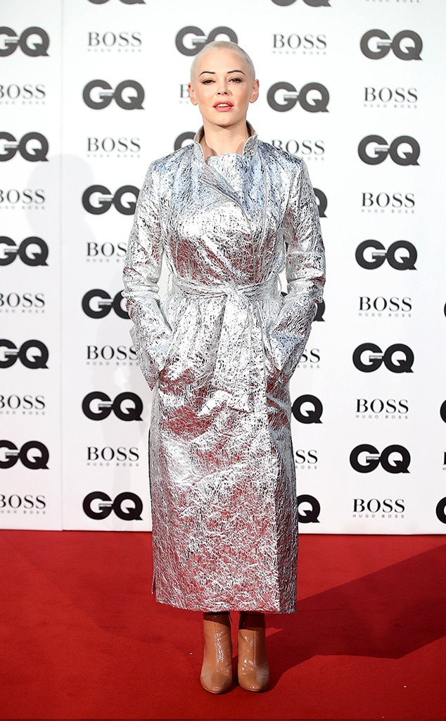 Rose McGowan -  The  Charmed  actress dazzled in a silver coat.