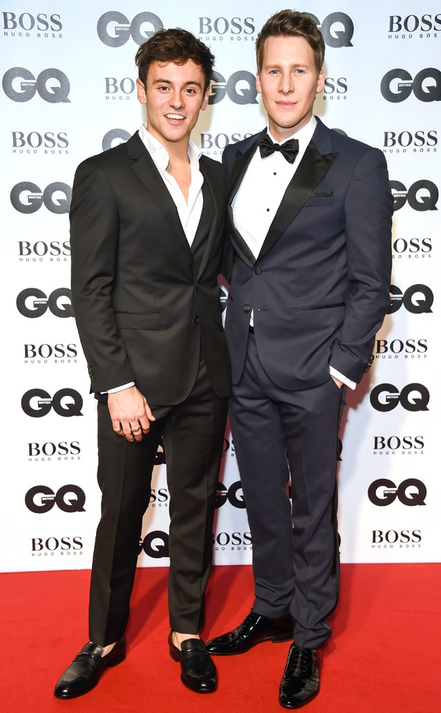 Tom Daley & Dustin Lance Black -  The couple coordinates on the red carpet.