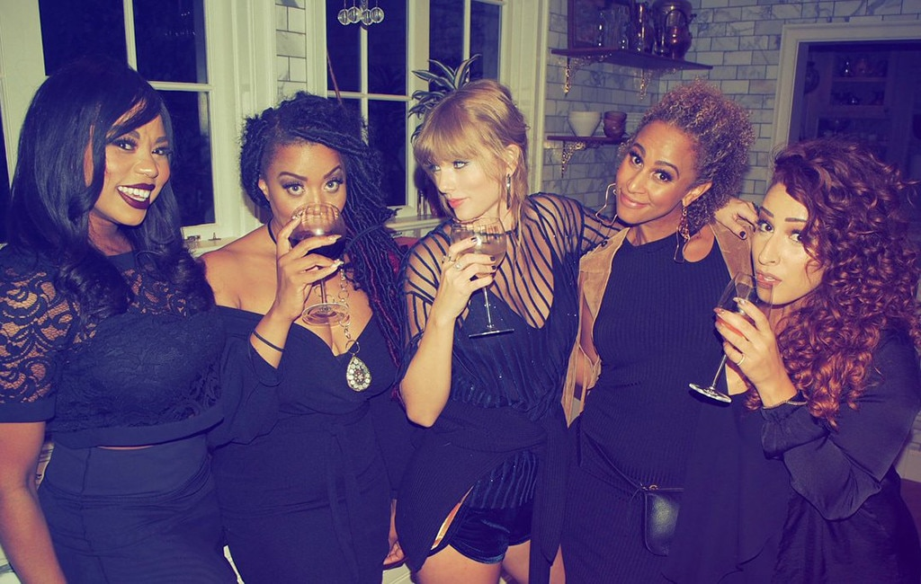 """Celebrate -  T-Swift and her backup singers get together for a """"Gorgeous"""" photo."""