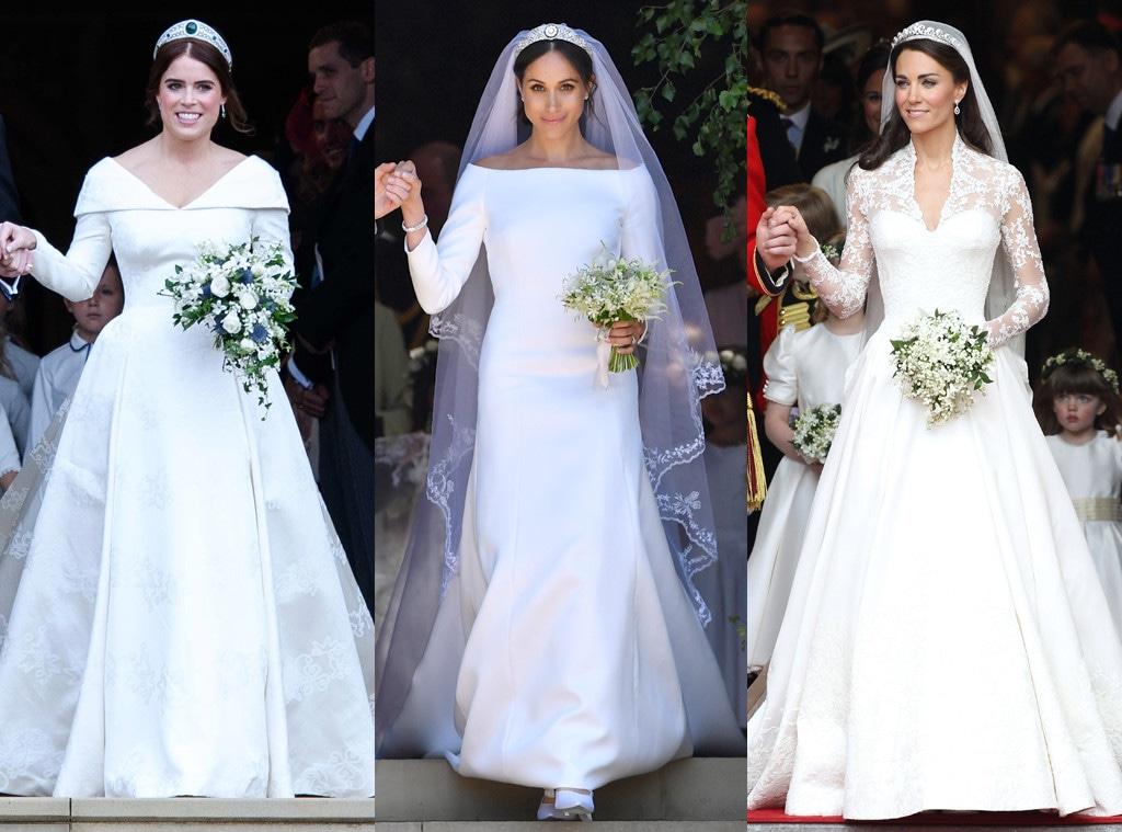 Princess Eugenie, Meghan Markle, Kate Middleton, Wedding Dresses