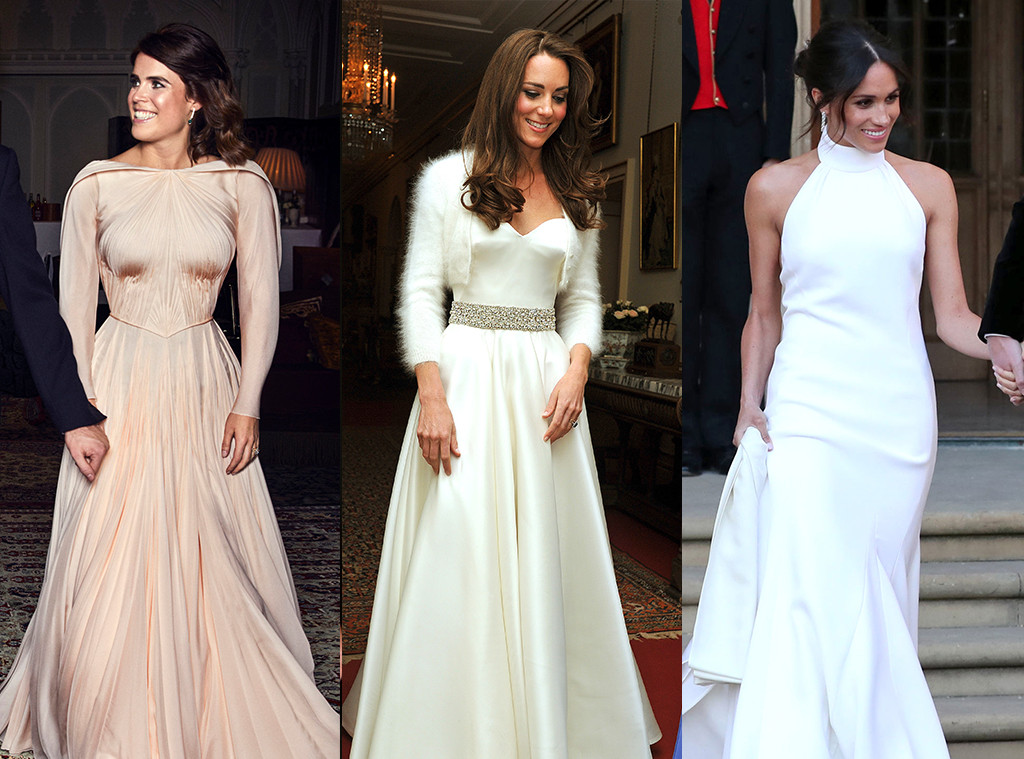 Princess Eugenie, Kate Middleton, Meghan Markle, wedding reception dresses