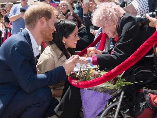 Prince Harry Adorably Reunites With 98-Year-Old Friend and Introduces Her to Pregnant Meghan Markle